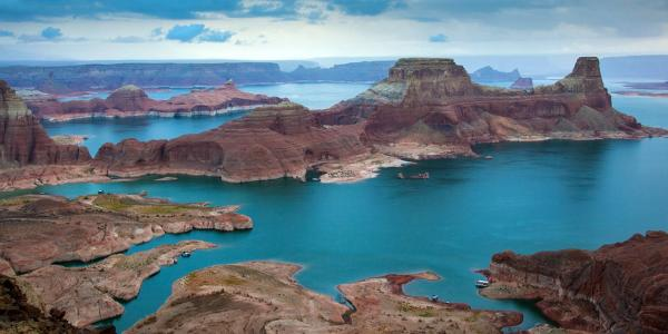 arial view of Lake Powell on a cloudy day
