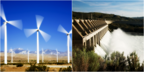 collage of a wind farm and Hydro power dam