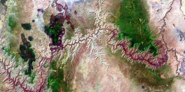 Satelite view of 277 miles of colorado river going through the Grand Canyon