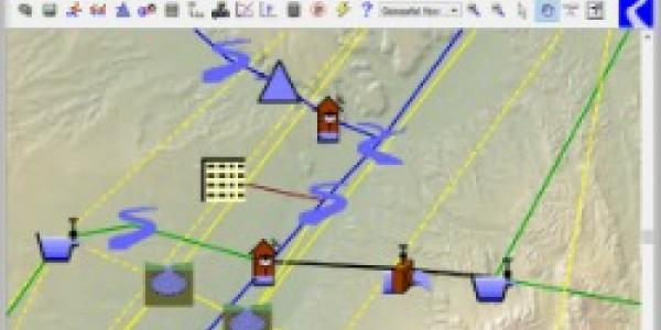 screenshot of a RiverWare workspace, showing part of a model with map in the background