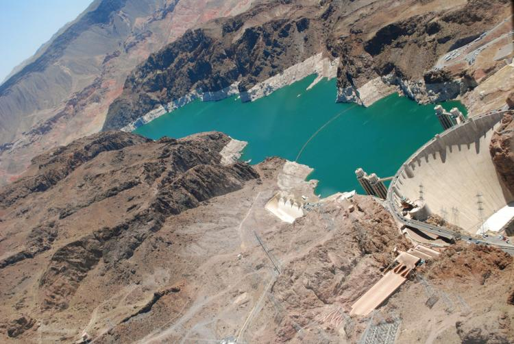 lake mead and hoover dam from helecopter