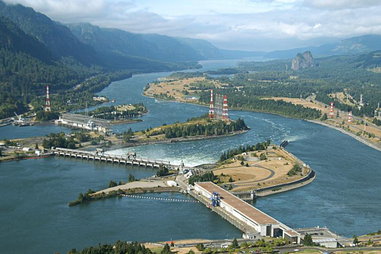 Bonneville Dam aerial view on the columbia river by Kevin Wingert