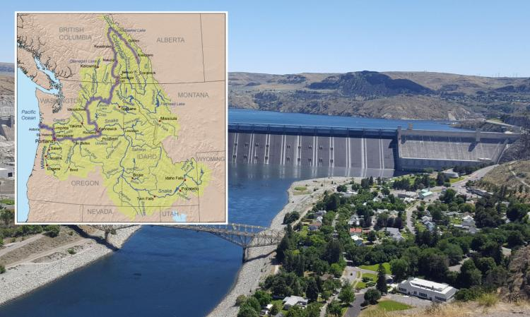 Grand Coulee dam and columbia river basin map