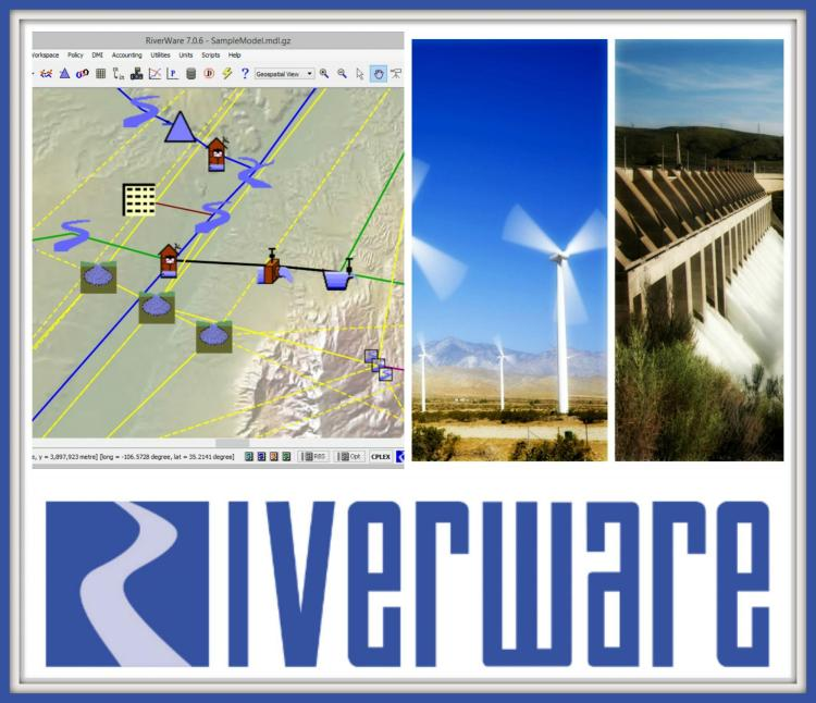 RiverWare logo and pic of wind and hydropower operations