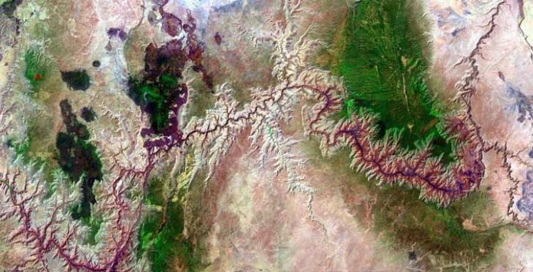 satelite view of 277 miles of colorado river, through the grand canyon