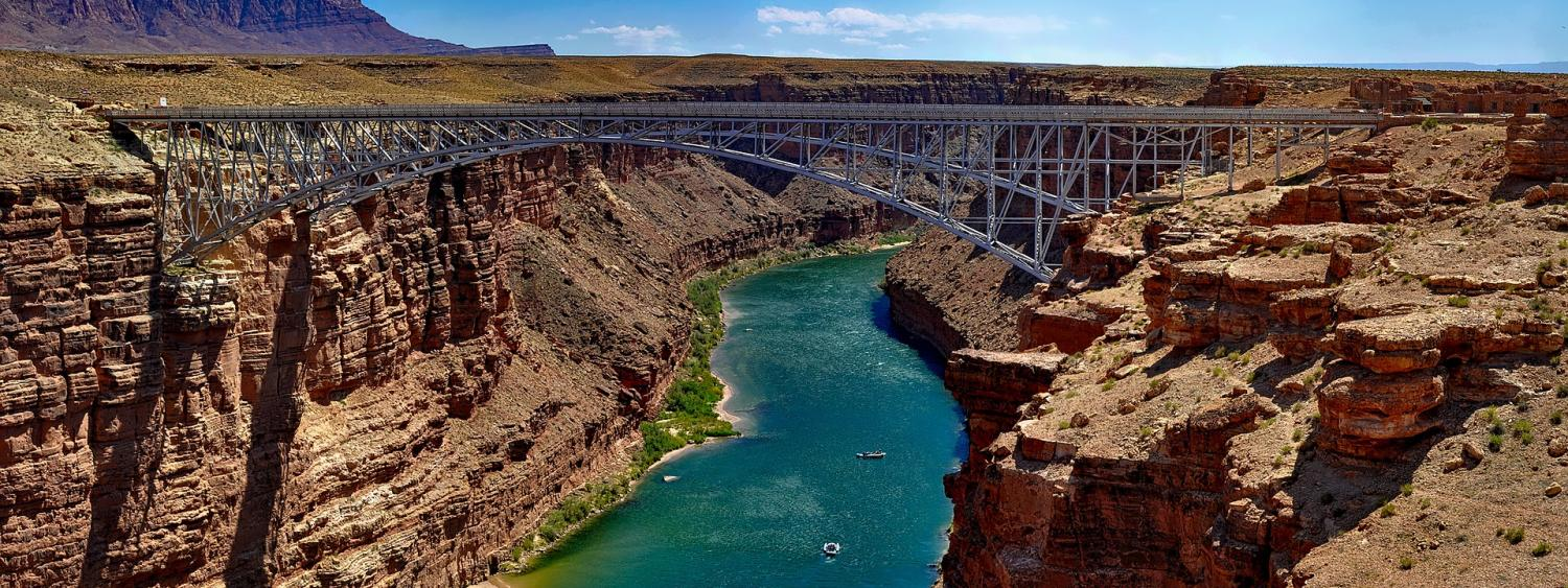 Navajo bridge accross the colorado river at marble canyon, in Grand Canyon national park