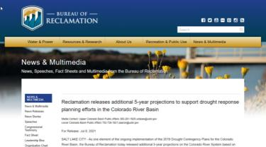 BOR media page with Colorado River Basin press release