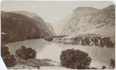 black and white photo of the colorado river at the canyon of Lodore