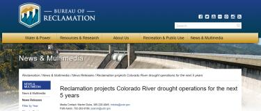 Screenshot of the Bureau of Reclamation news release on their website