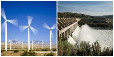 collage of Chief Hosa hydropower dam and Wind turbines