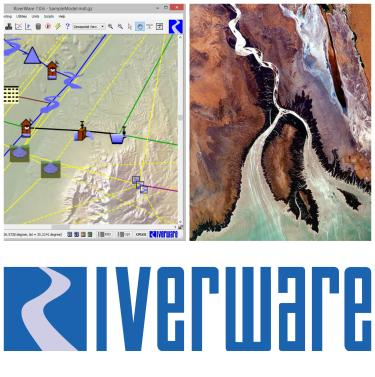 collage of RiverWare logo, CO river delta and workspace screenshot