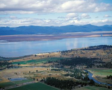 aerial view of upper klamath lake in OR