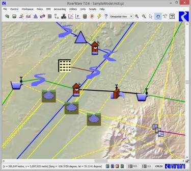 a screenshot of a riverware workspace showing part of a model with map in the background