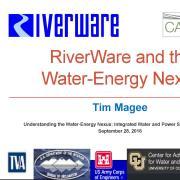 power point presentation slide for RiverWare presentation at the workshop