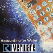 Calculator dropped in water. Text says RiverWare Accounting for Water.
