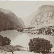 old black and white picture of colorado river at Canyon of Lodore