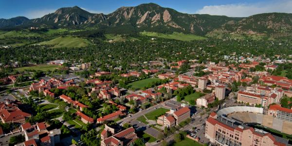 aerial shot of CU campus