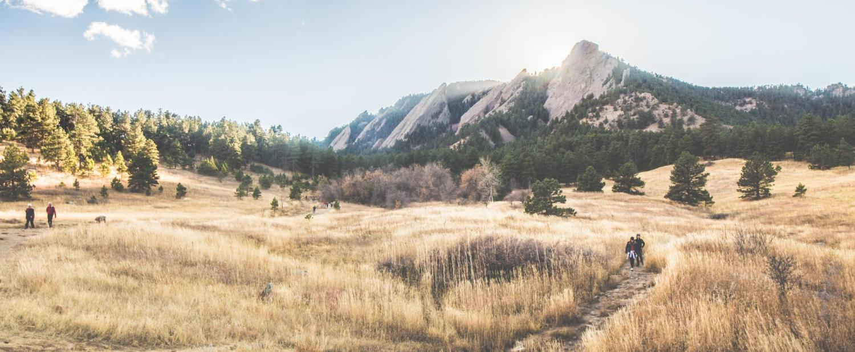 Boulder flatirons in daylight
