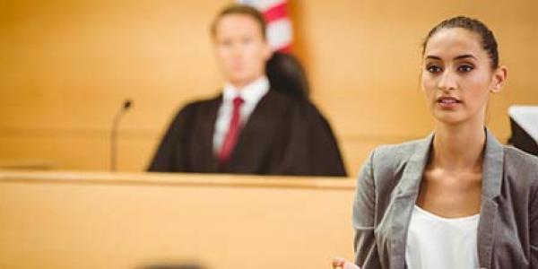 person in a courtroom