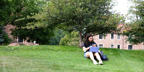 person using a laptop in the grass