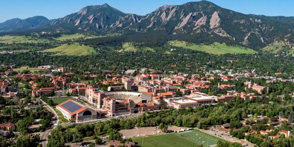 Aerial view CU Boulder campus