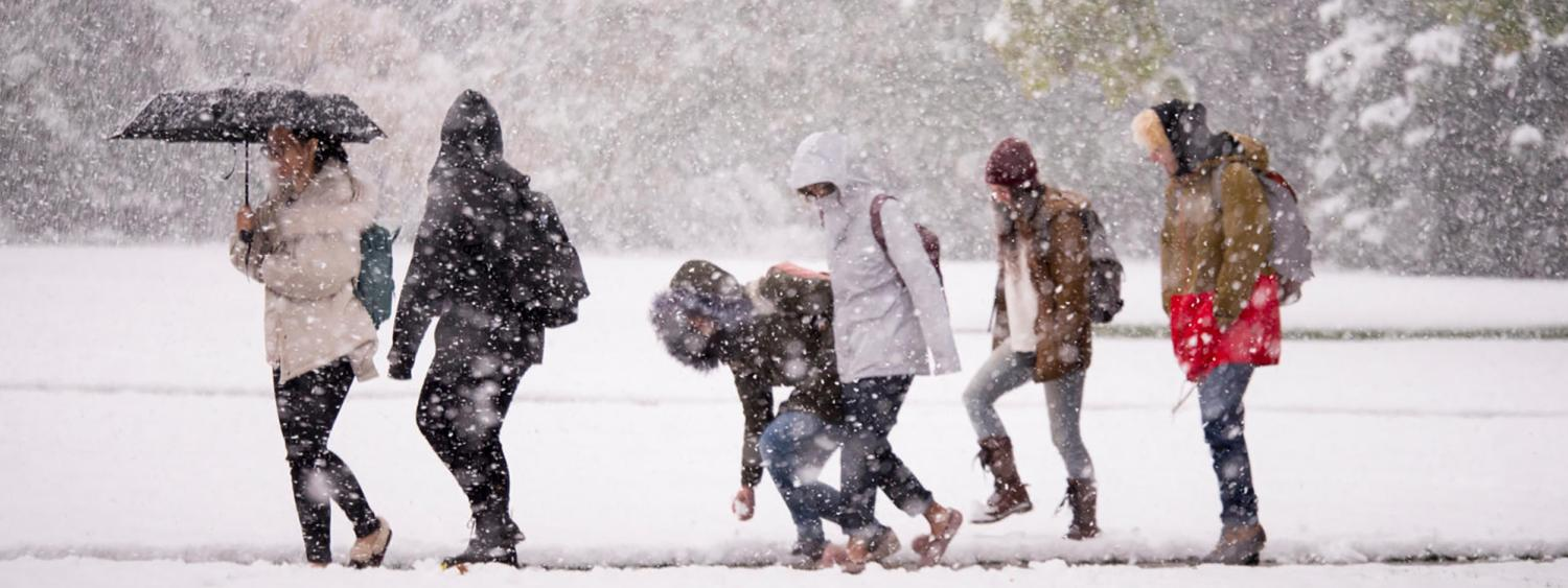 Students walking on campus during a snow storm