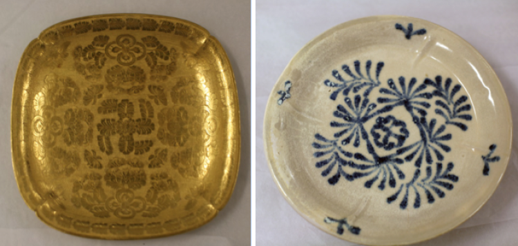 Gold item and early blue and white porcelain found at the Belitung Shipwreck