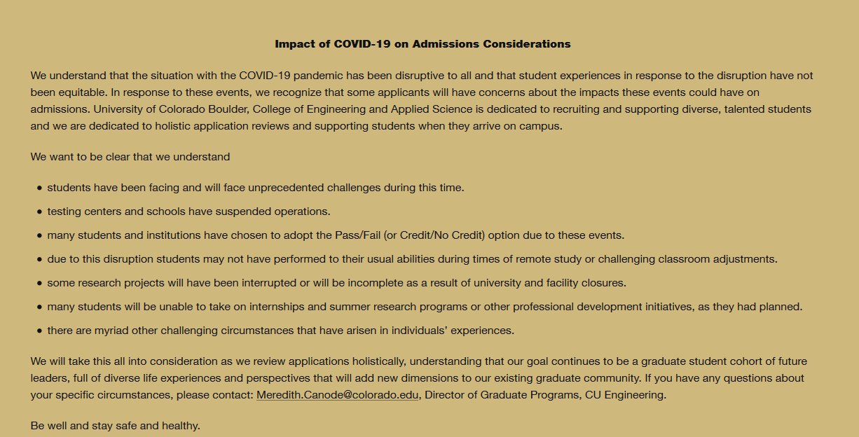 Impact of COVID-19 on Admissions Considerations