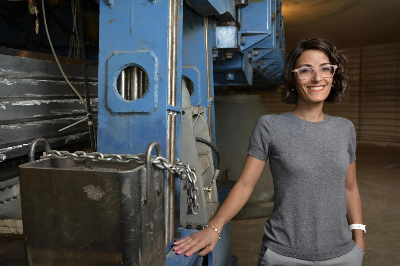 Shideh Dashti with CU Boulder's 400 gton centrifuge.