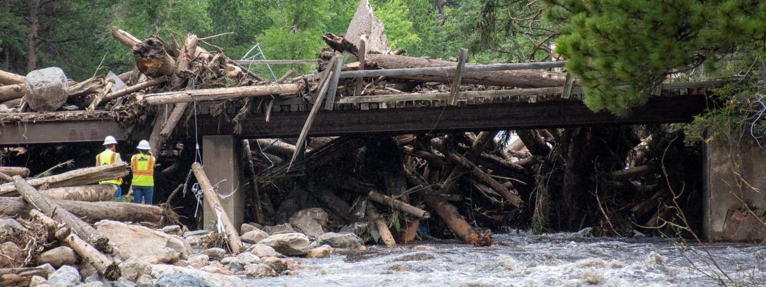 The aftermath of July 2021 floods in Poudre Canyon, west of Fort Collins.
