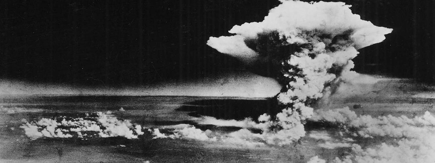 Black and white photo of the mushroom cloud over Hiroshima.