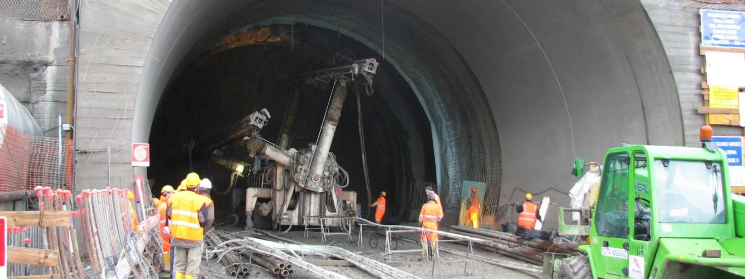 Tunneling machinery on a worksite