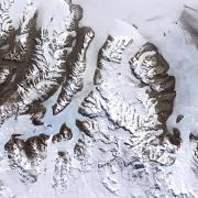 An aerial photo of Antarctica's dry McMudro valleys