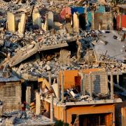 Houses destroyed by the 2010 earthquake in Haiti