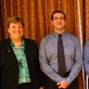From left to right: Vice Chancellor for Research Terri Fiez, Outstanding Postdoc Awardees Mohammad Hariri and Francisco Müller-Sánchez, and OPA Director Leah Colvin