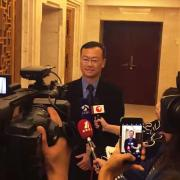 John Zhai is interviewed by the news media at the World IoT Expo.