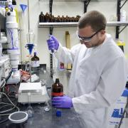 A graduate student works in an environmental engineering lab
