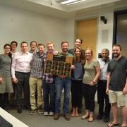 The winning senior design team poses for a group photo during their final class.