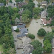 An aerial view of a neighborhood flooded by Hurricane Harvey.