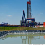 Fracking rig and wastewater