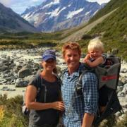 Matthew Hallowell hiking in New Zealand with his wife, Robyn, and son Rowan.
