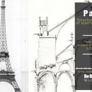 Flyer for the course, with sketch of the Eiffel Tower and Notre Dame cathedral in the background