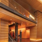 Complex lighting design in a modern building.