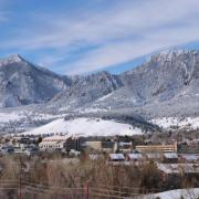 Photo showing snow on the Flatirons in March.