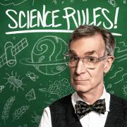 The Science Rules! podcast logo, featuring Bill Nye in front of a chalkboard