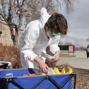 PJ from Reno, Nevada, who graduated from CU Boulder environmental engineering, conducts COVID-19 wastewater testing on the CU Boulder campus in March of 2021.