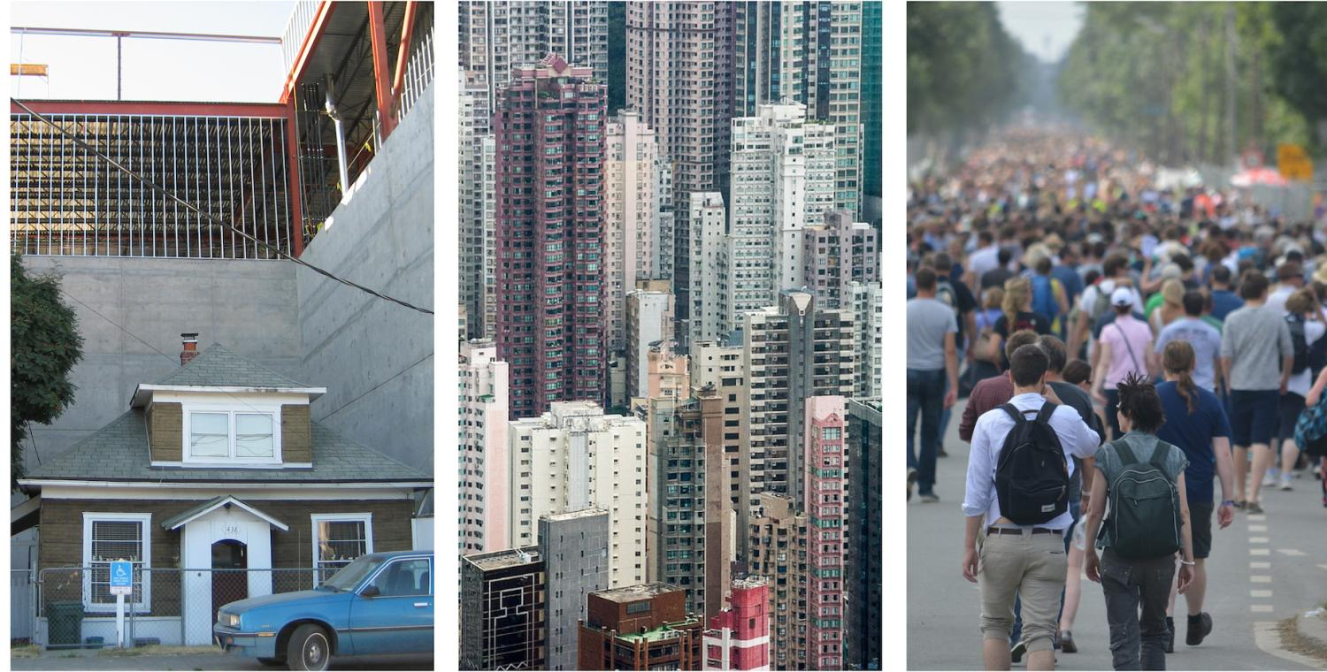 Triptych of home surrounded by city, downtown Shanghai and crowd of people walking away from camera.