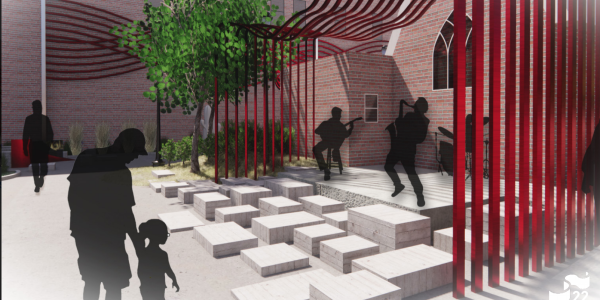 Metal rods painted red form a ribbon in students' rendering of adding functional art to St. Stephe's Plaza in Longmont