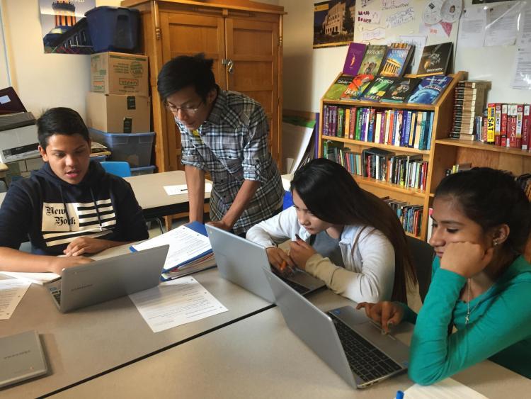 AVID class at Boulder High School with ENVD mentor Alpine Balsam diverse