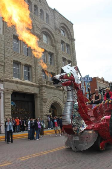 Red dragon float in the middle of historic Trinidad, Colorado